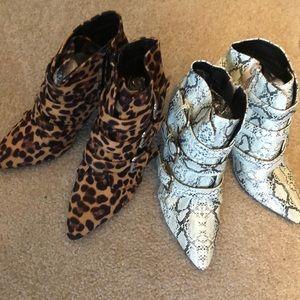NWT Leopard/Snakeskin booties Sz 8 2 pair!